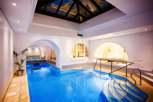 Tranquil Skylit Swimming Pool, Sauna and Spa Pool